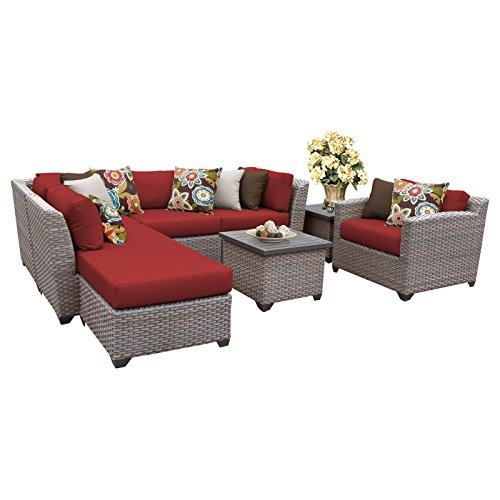 TK Classics FLORENCE-08g-TERRACOTTA 8 Piece Outdoor Wicker Patio Furniture Set, Terracotta