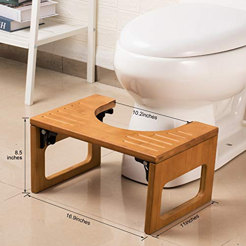 AmazerBath 7 Inch Bamboo Squatting Toilet Stool Collapsible Toilet Potty Stool for Bathroom, Men, Women - Dark Wood Color