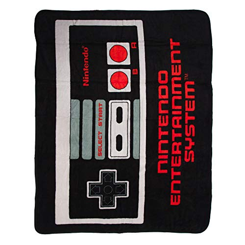 BIOWORLD Nintendo Retro NES Controller Throw Blanket, 48' x 60'