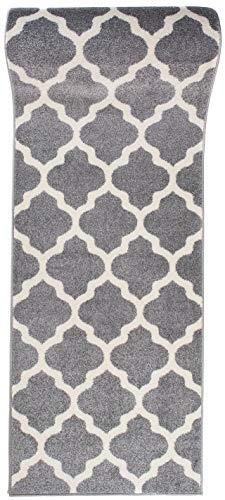 Läufer Teppich Brücke Teppichläufer - Orientalisches Marokkanische - Flur Modern Designer Muster Meterware - Casablanca Kollektion von Carpeto - Grau Weiß - 60 x 200 cm