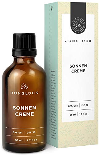 Junglück vegane Sonnencreme | 50 ml im Braunglas | Für natürlichen Sonnenschutz auf mineralischer Basis | Natürliche & nachhaltige Kosmetik made in Germany