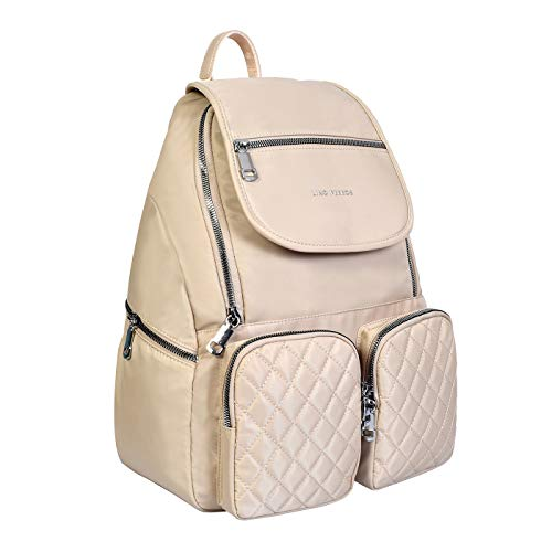 Lino Perros Pink Colored Quilted Backpack for Women (BEIGE)