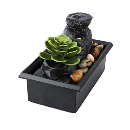 Tabletop Water Fountain,Feng Shui Zen Indoor Waterfall Fountain with LED...