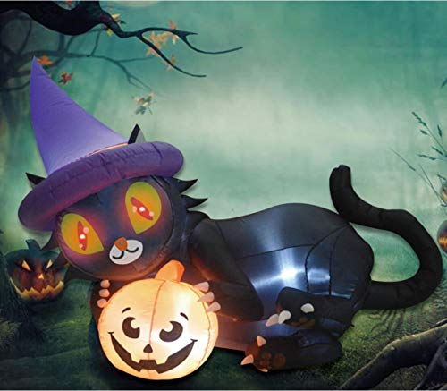 GOOSH 6 Foot Inflatables Halloween Blow UP Black Cat Playing The Pumpkin with White LED Light for Halloween Yard Garden Lawn Indoor/Outdoor Decorations