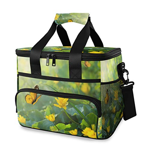 Vinlin Picknick Kühltasche Frühlings Blume Schmetterling Groß Picknick Brotdose Korb Isoliert Mittagessen Tragetasche zum Reise Büro Schule