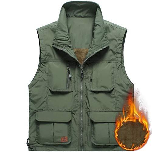 DWW Lichtgewicht Verrekijker Leger Groen Travel Vest Warm - Winter Mouwloos Jas Met 4 Zakken, Binnenzak, Geïsoleerde Mouwloos Jas