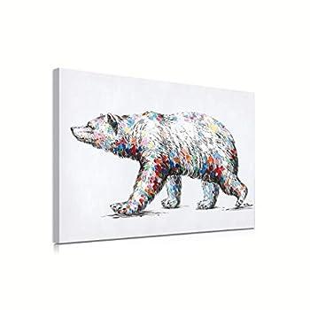 Colorful Spots Polar Bear Surrealism Wall Art Mama Bear Canvas Prints Gray and White Sketche Decoration Wildlife Animals Wall Decor for Cabin Nursery Bedroom Bathroom Office 16  x 12  Framed