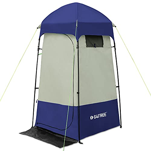 G4Free Camping Shower Tent, Privacy Tent Dressing Changing Room, Portable Toilet, Rain Shelter for Camping Beach with Carry Bag (Blue)