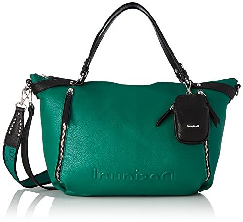 Desigual Womens Bols_EMBOSSED Half L - Bolso de mano (talla única), color verde