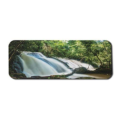 Exotisches blaues Computer-Mauspad, malerisch von den Wasserfällen von Agua Azul Chiapas Mexiko Streaming-Wassereffekt, Rechteck rutschfestes Gummi-Mauspad Groß Mehrfarbig
