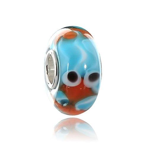 Materia Muranoglas Beads blau orange Element - Fisch Aquarium Glas Bead mit 925 Silber Hülse für European Beads Armband #1583
