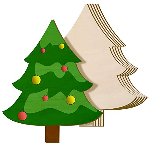 Jetec 6 Pieces 8 x 10 Inch Wooden Christmas Tree Cutout Christmas Unfinished Wooden Ornaments Blank Christmas Tree Craft Wooden Decorations for DIY Christmas Party Decor