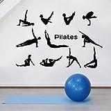 WERWN Pilates Pose Pared calcomanía Estilo de Vida Yoga Pose Gimnasia Deportes decoración de Interiores Vinilo Ventana Pegatina Mural Arte