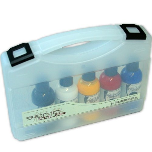 Senjo Color ® Airbrush Farben Set (Für Gesicht & Körper) Dermatologisch getestete Farben (5 x75ml) Farben: Schwarz, Weiß, Rot, Gelb & Blau