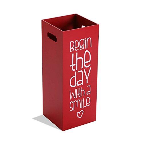 Versa 15615666 Paraguero madera rojo Fluor, 53x21x21cm, Madera, Soporte paraguas