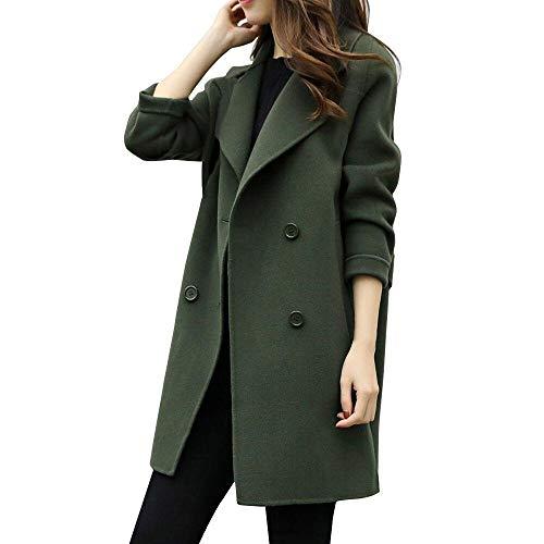 Donne giacca casuale del cappotto del manicotto a maglia delle(Army Verde,Medium)