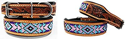 CHALLENGER XSmall 9''- 13'' Hand Tooled Beaded Padded Leather Dog Collar 60128