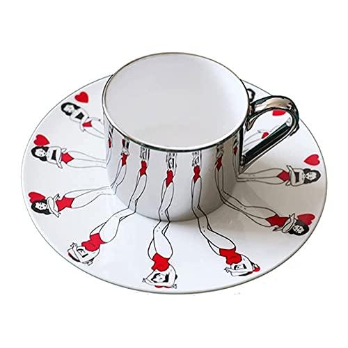 Tazas 7.4oz Creatividad Espejo hecho a mano Taza de café con platillos de diseño únicos Taza de café Tazas de espejo Festival Cumpleaños Regalo romántico para su mejor amor sombra espejo copas conjunt