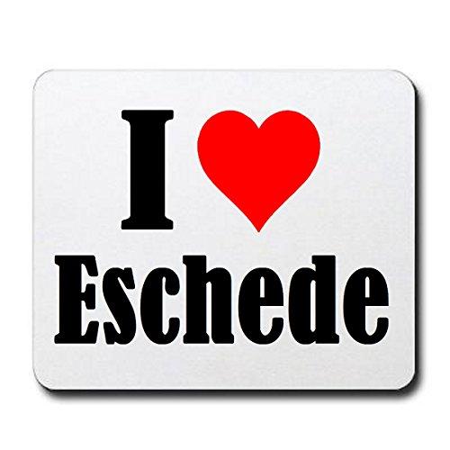 """Exklusive Geschenkidee: Mauspad """"I Love Eschede"""" in Weiss, eine tolle Geschenkidee die von Herzen kommt- Rutschfestes Mousepad- Weihnachts Geschenktipp"""