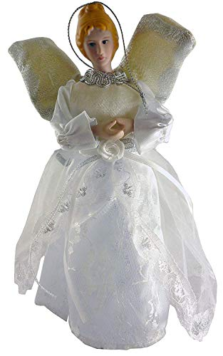 9 Inch Tree Top Christmas Angel Dressed In Silver And White