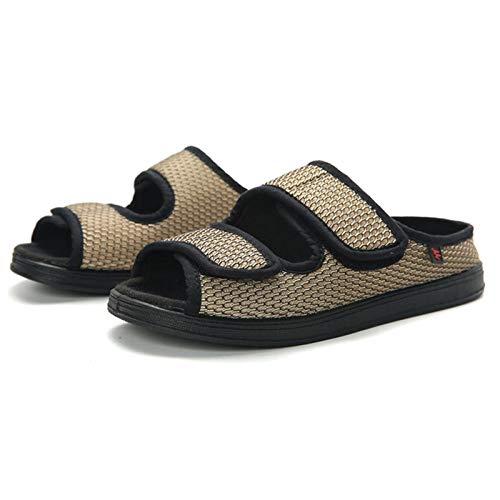 Diabetische wandelschoenen voor heren Ademende sneakers, brede en gezwollen voet- en zomerschoenen, grote, met been verstelbare rubberen losse stoffen schoenen-Khaki_36, diabetische pantoffel