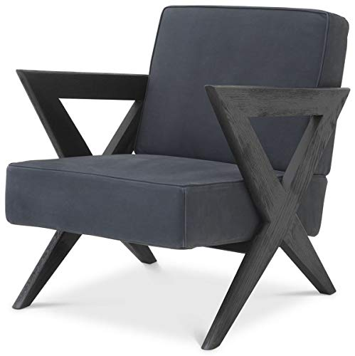 Casa Padrino sillón de Piel Genuina de Lujo Azul/Negro 63 x 79 x A. 76 cm - Sillón de salón con Cuero Fino de búfalo - Muebles de Lujo