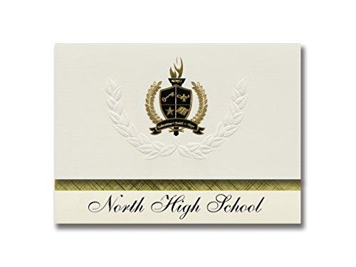 Annonces Signature Nord High School (Oshkosh, WI) Annonces de graduation, style présidentiel, Paquet Elite de 25 avec joint en feuille métallique doré et noir