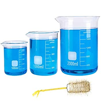 SUPERLELE 3pcs Glass Graduated Beaker Set 500ml 1000ml 2000ml Glass Measuring Low Form Beakers with 1 Beaker Brush