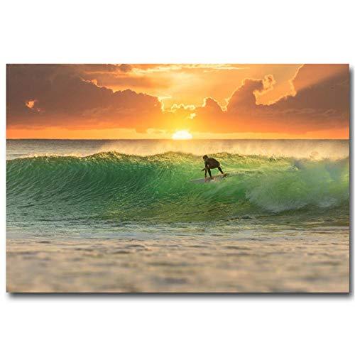 MNNPY Poster Sonnenuntergang Surfen Ocean Wave Fantasy Kunst Leinwand Poster Drucken Landschaftsbilder Home Wanddekoration 24X31inch (60X80cm)