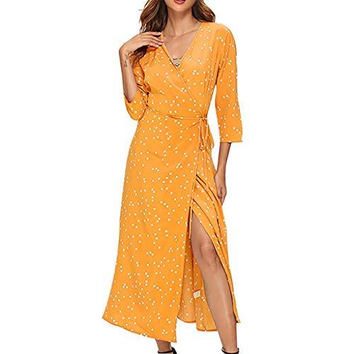 DQANIU Damenkleider, Damen V-Ausschnitt Punktdruck Langarm Riemchen UnregelmäßIg Casual Langes Kleid Hohe Taille SchnüRung Chiffon Partykleid