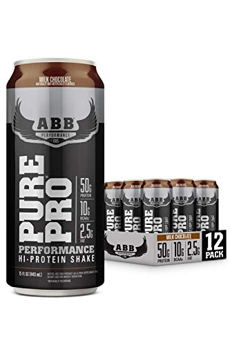 American Body Building (ABB) Pure Pro 50, Post-Workout Recovery Protein Shake, Muscle Builder, HI-Protein, Low Fat, Low Sugar, Milk Chocolate Flavored, Ready to Drink 15 oz Bottles, 12 Count