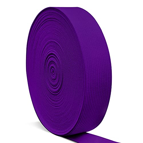 Elastic Bands for Sewing 1 Inch, Hengiee Braided Elastic for Wigs, Waistband, Skirt, Pants, Headband, Bed Sheets, Kids Clothes, Craft DIY Projects(Purple, 12 Yard)