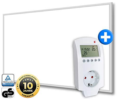 Heidenfeld Infrarotheizung HF-HP110 Weiß + Steckdosenthermostat HF-DT100-10 Jahre Garantie - Deutsche Qualitätsmarke - TÜV GS - 600 Watt - 8-16 m² (HF-HP110 600 Watt)