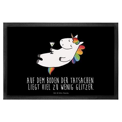Mr. & Mrs. Panda Haustürmatte, Schmutzmatte, 50 x 75 Fußmatte Einhorn Cocktail mit Spruch - Farbe...