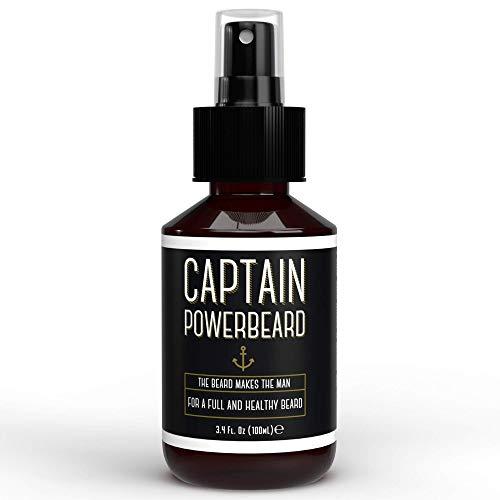 Captain Powerbeard Spray Crescita Barba I Olio Barba Uomo Idratante e Nutriente I Spray con Olio da Barba che Favorisce Crescita Barba Folta, Morbida e Sana I...