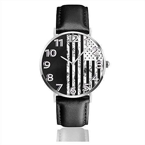 Distressed-American-Flag-Clipart-Schwarz-Weiß-Png-12 Uhr Lässige Armbanduhren aus schwarzem Leder