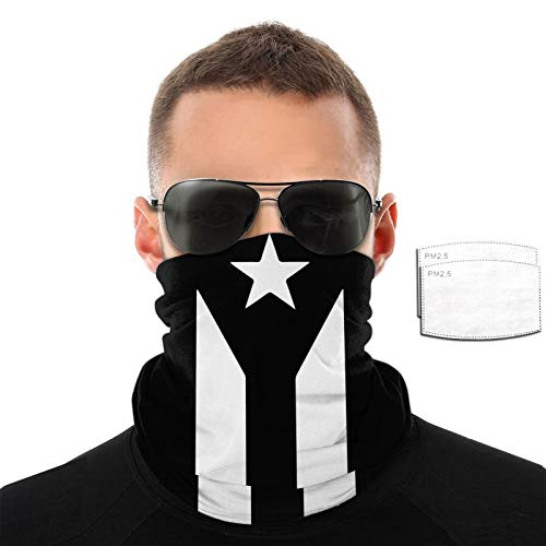Ramwans Puerto Rico Black & White Protest Flag Mission Cooling Neck Gaiter With Filter Elastic Unisex Scarf,Bandana,Balaclava,Headband For Men And Women