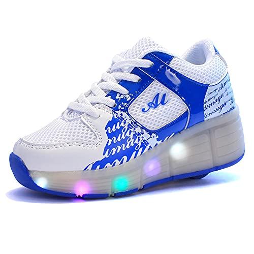 GGBLCS Niños Niña Zapatillas con Ruedas Led Luz Automática de Skate 1 Ruedas Zapatos Patines Deportes Zapatos para Adulta/Niños