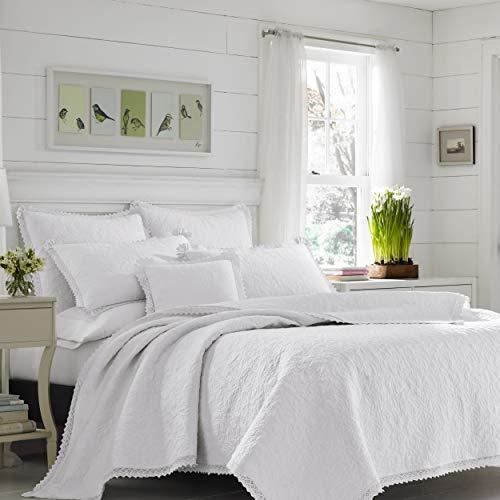 Laura Ashley Home Luxuriöses, besonders weiches Steppdeckenbezug, bequemes 3-teiliges Bettwäscheset, für alle Jahreszeiten, stilvolle Tagesdecke, weiß, King-Size-Bett