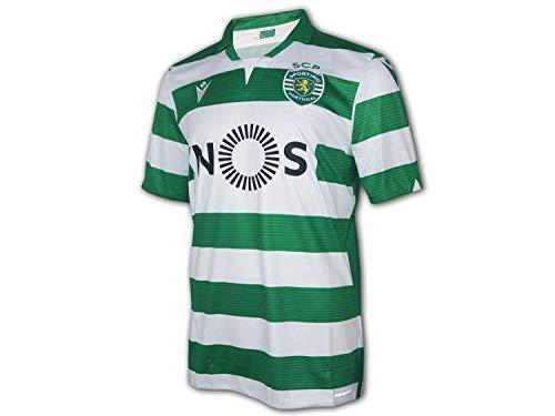 Macron Sporting Lisboa Primera Equipación 2019-2020, Camiseta, White-Green, Talla S