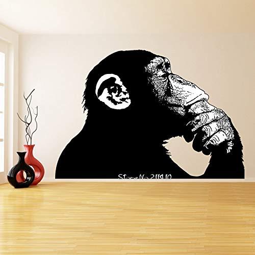 yaonuli Black Monkey Thinking Wandaufkleber Abnehmbare Vinyl Wandtattoo Realistische Smart Ape Street Graffiti Wandbild 145x82cm