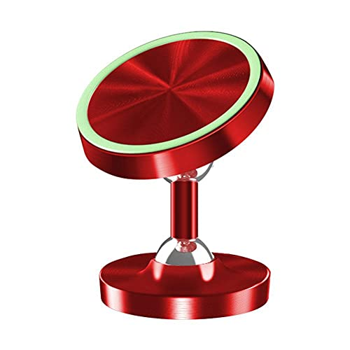 N.Z Soporte de teléfono de metal luminoso para coche, rotación de 360 grados, soporte magnético universal, para coche, escritorio, cocina, dormitorio, mesita de noche, baño, vanidad - rojo