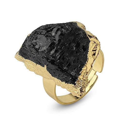 Anillo Turmalina Negra Ajustable envuelto con una capa dorada – Preciosa Alianza de Piedra natural e irregular, regalo romántico y elegante para mujer