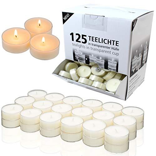 Smart Planet® Kerzen Ambiente Lot de 125 bougies chauffe-plat avec longue durée de combustion Blanc dans un étui transparent
