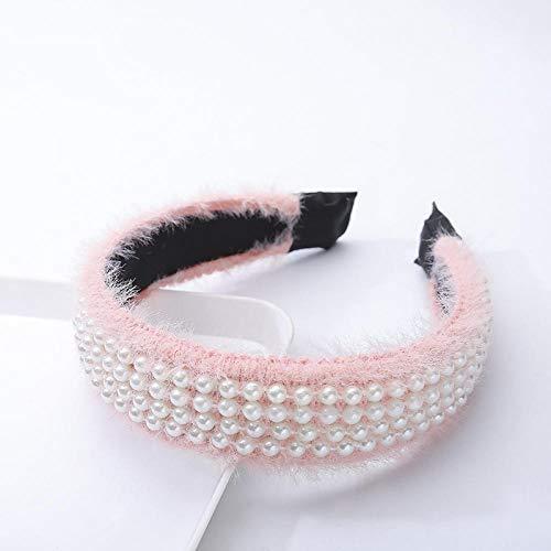 Accessoires pour cheveux Hairband à large bord simple perle en peluche hairband européen et américain rétro noeud moyen hairband cheveux accessoires h