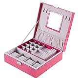 Sulifor Housekeeping Aufbewahrungsmaterial, Rose rot Intensive Uhrenbox Schmuck Aufbewahrungsbox Leder Aufbewahrungsbox