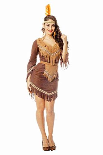 Western Damen Kostüm Indianerin Squaw braun Karneval Fasching Gr.40