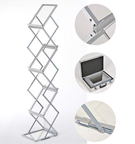 DISPLAY SALES Prospektständer faltbar 6 x DIN A4 aus Alu/Acryl. Inkl. Alu-Tragekoffer. Bodenprospektständer Falt-Prospektständer silber Hochformat
