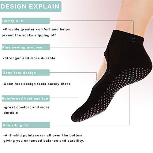 Yoga Socks Non Slip Skid Pilates Ballet Barre with Grips for Women Girls 4 Pack by Cooque (yoga socks-4 pack) ...