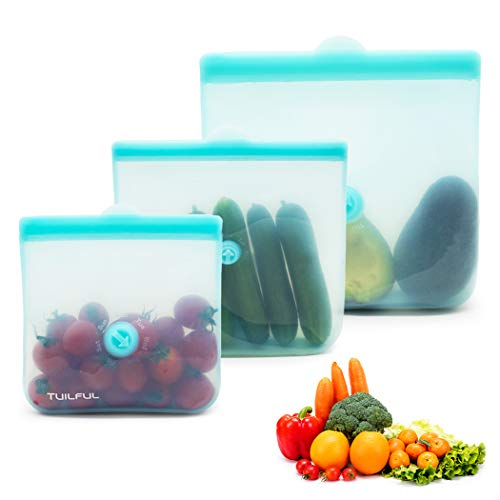 Silicone Food Bags, Reusable Thick Food Storage Bags Microwave Dishwasher Safe Silicone Food Containers Leakproof Set of 3 Sandwich Bags (Lake Blue)